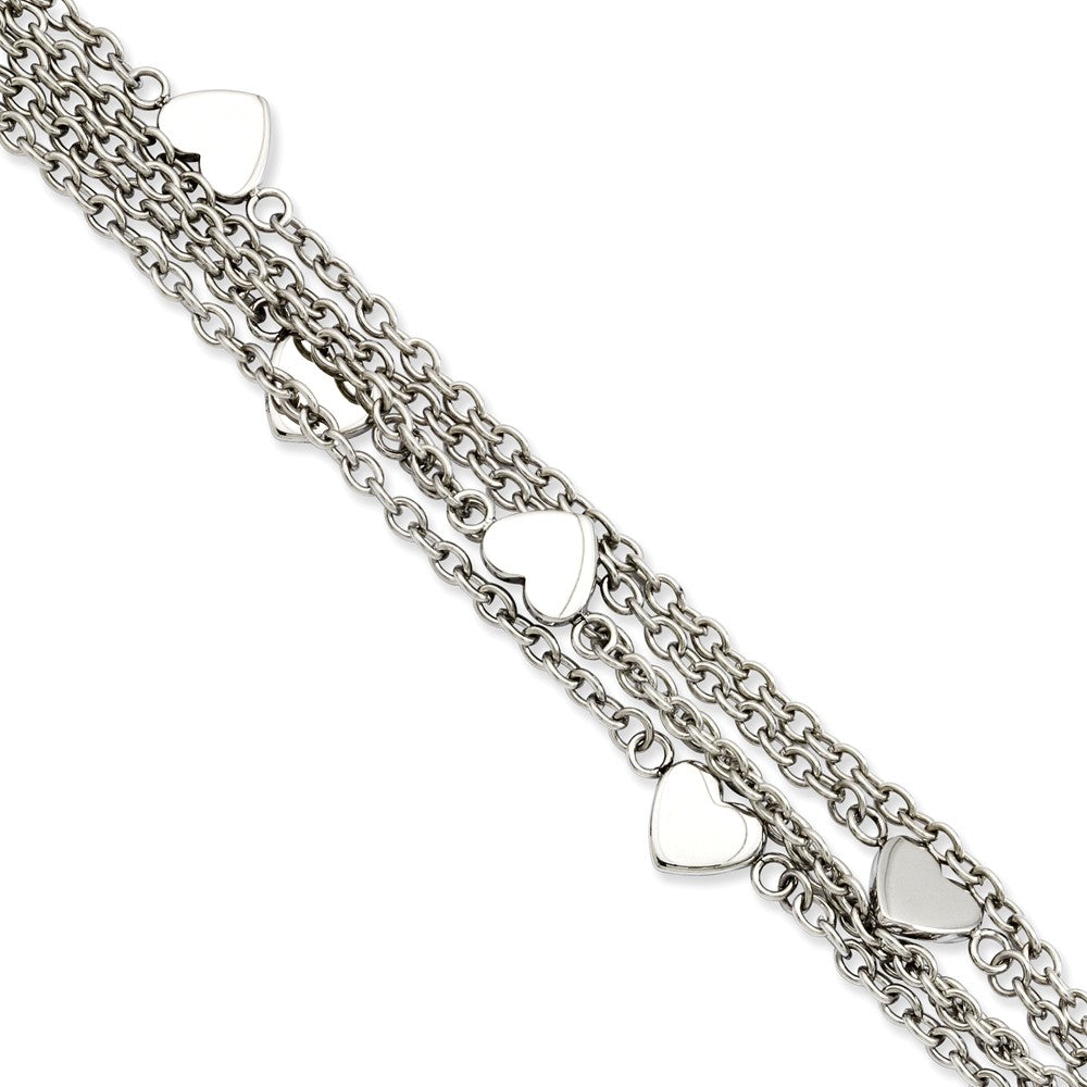 Stainless Steel Multiple Chain & Heart Charm Toggle Bracelet, 8 Inch, Item B11156 by The Black Bow Jewelry Co.