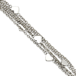 Stainless Steel Multiple Chain & Heart Charm Toggle Bracelet, 8 Inch - The Black Bow Jewelry Co.