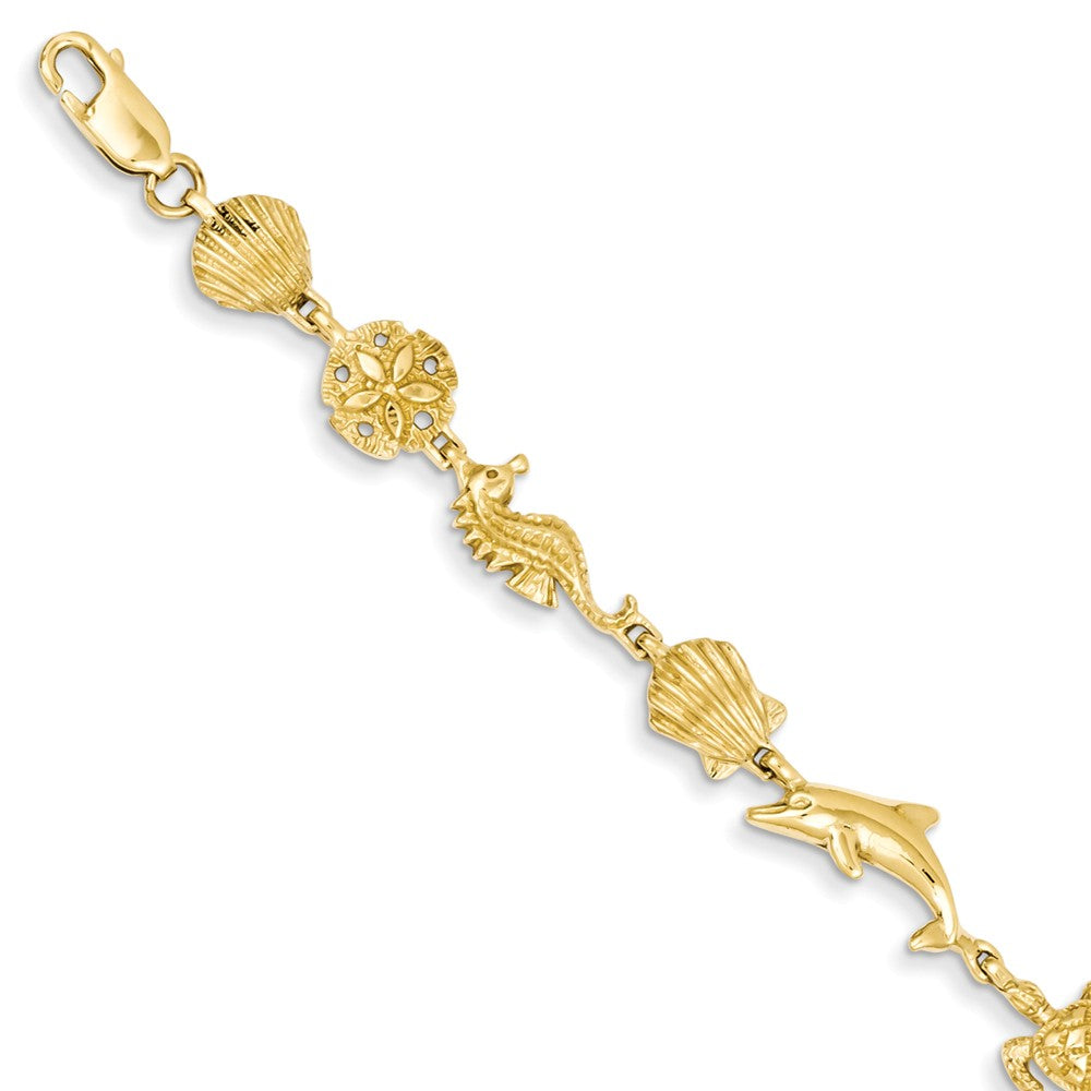 14k Yellow Gold Sea Life Bracelet - 7 Inch, Item B11180 by The Black Bow Jewelry Co.