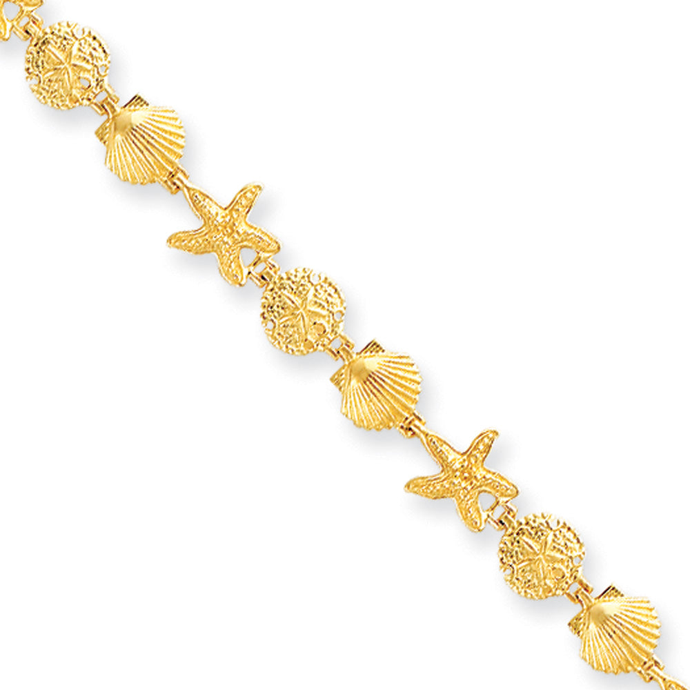 14k Yellow Gold Seashell Theme Bracelet - 7.25 Inch, Item B11193 by The Black Bow Jewelry Co.