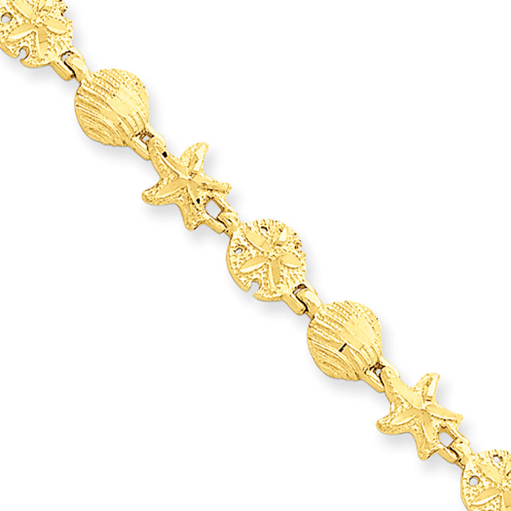 14k Yellow Gold Starfish, Shell and Sand Dollar Bracelet - 7 Inch, Item B11199 by The Black Bow Jewelry Co.