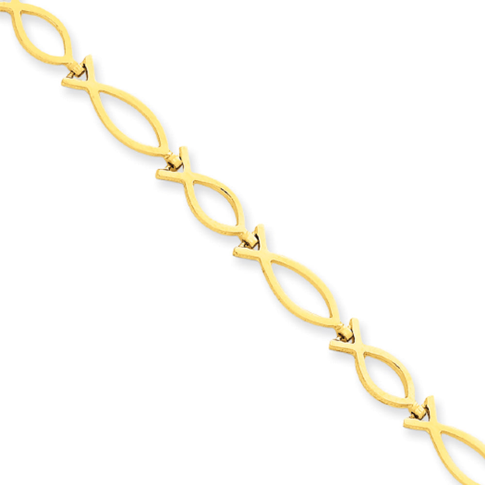 14k Yellow Gold Religious Ichthus (Fish) Bracelet - 7 Inch, Item B11210 by The Black Bow Jewelry Co.