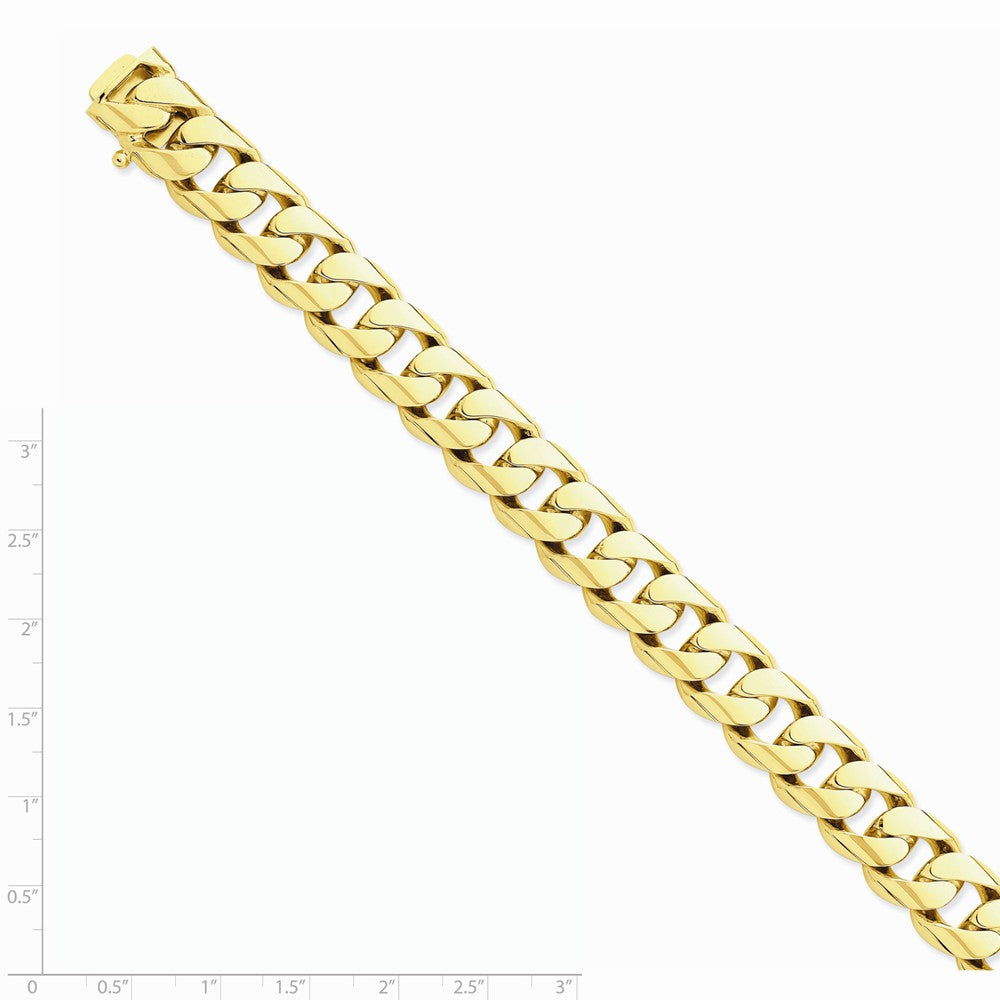 Alternate view of the Men's 14k Yellow Gold, 13mm Rounded Curb Bracelet - 8 Inch by The Black Bow Jewelry Co.