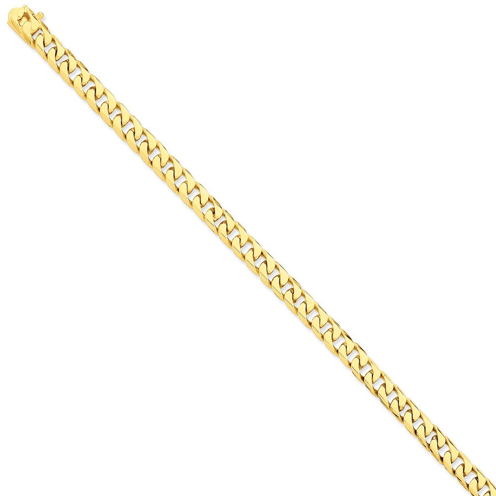 Men's 14k Yellow Gold, 6.8mm Flat Beveled Curb Chain Bracelet, 8 Inch, Item B11235 by The Black Bow Jewelry Co.