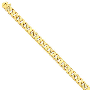 Men's 14k Yellow Gold, 9.8mm Flat Beveled Curb Bracelet - 8 Inch
