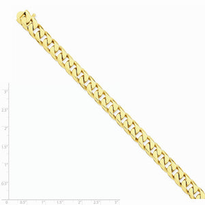 Alternate view of the Men's 14k Yellow Gold, 9.8mm Flat Beveled Curb Bracelet - 8 Inch by The Black Bow Jewelry Co.