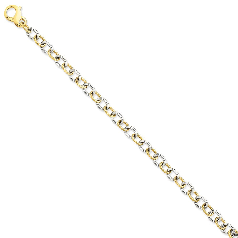 14k White and Yellow Gold, 6.5mm Fancy Link Chain Bracelet - 8.5 Inch, Item B11253 by The Black Bow Jewelry Co.