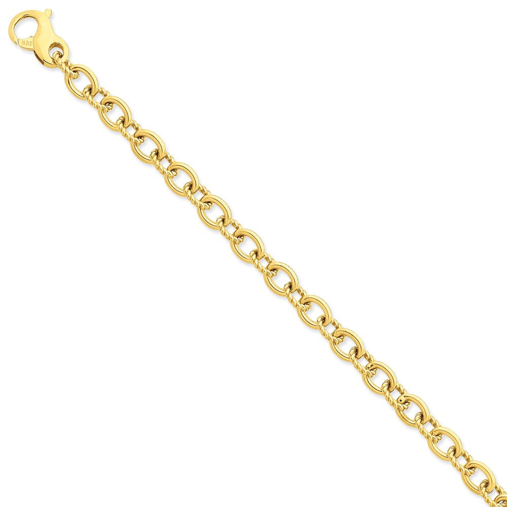 Men's 14k Yellow Gold, 7.5mm Fancy Cable Link Chain Bracelet, 8.5 Inch, Item B11257 by The Black Bow Jewelry Co.