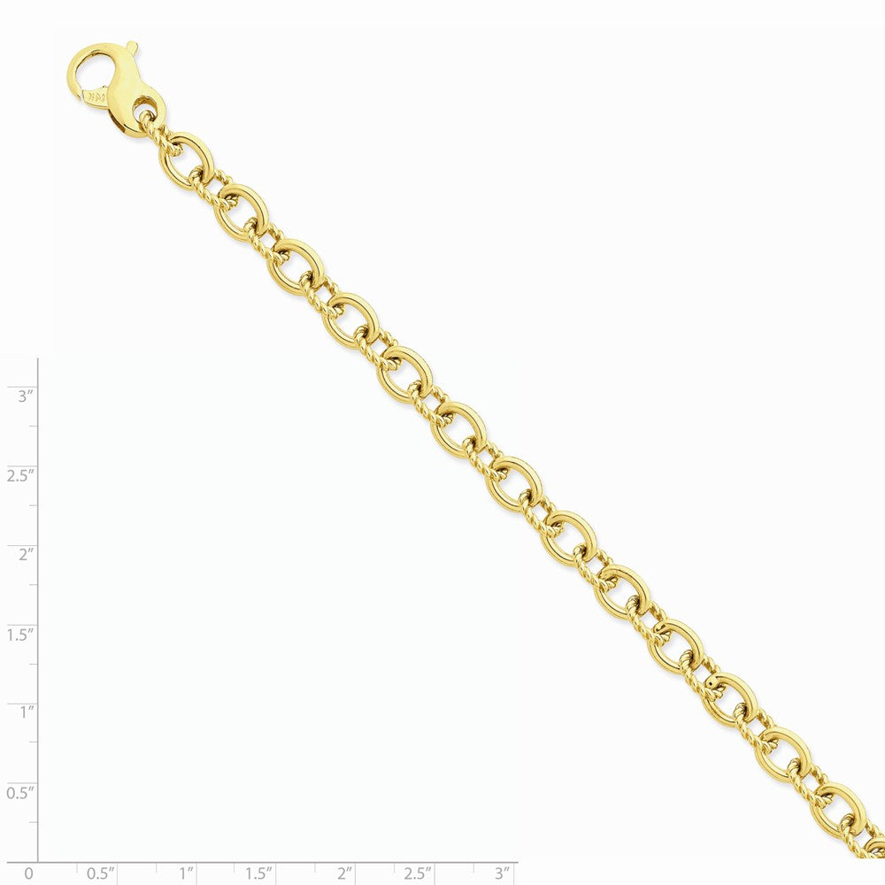 Alternate view of the Men's 14k Yellow Gold, 7.5mm Fancy Cable Link Chain Bracelet, 8.5 Inch by The Black Bow Jewelry Co.