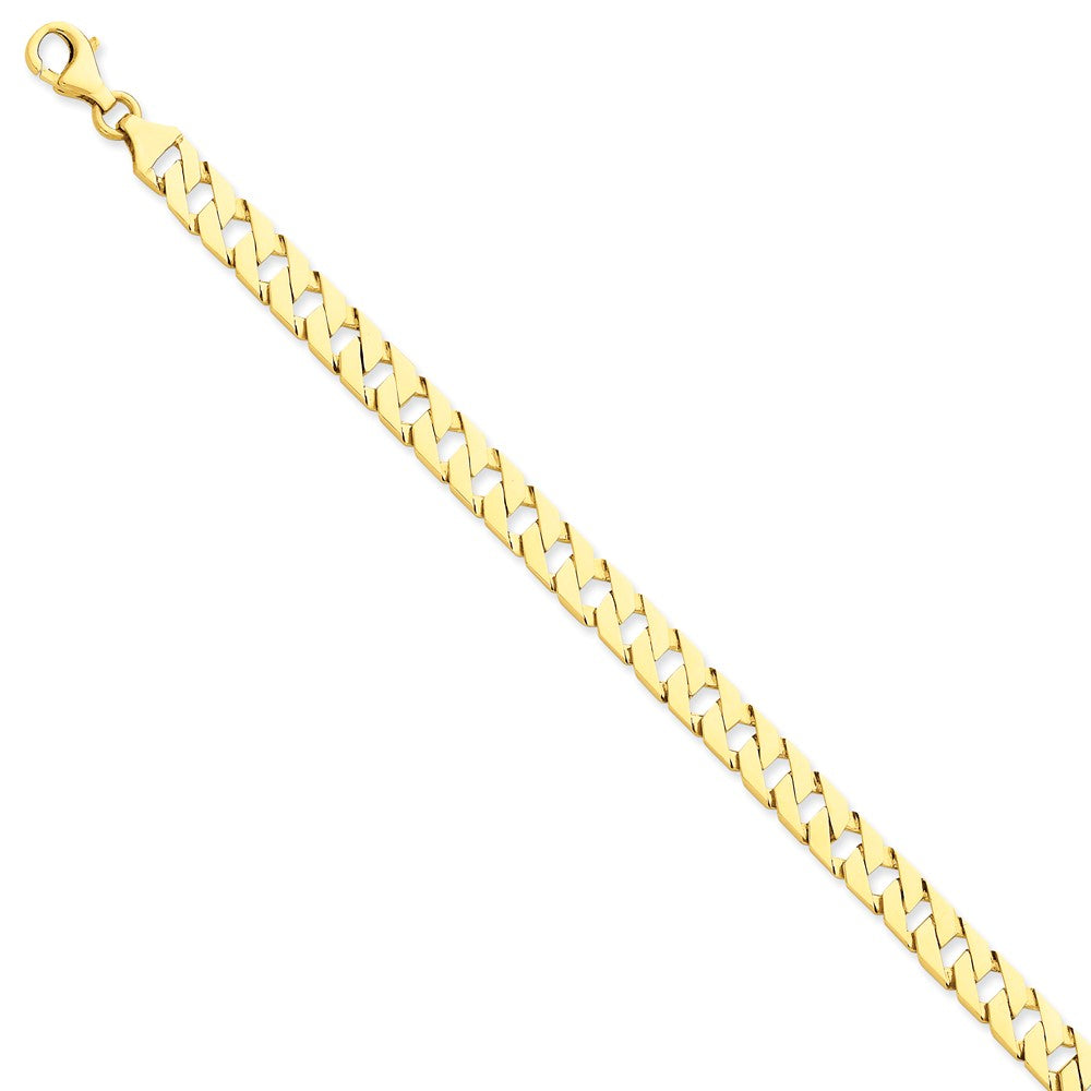 Men's 14k Yellow Gold, 7mm Fancy Square Chain Link Bracelet - 8 Inch, Item B11259-08 by The Black Bow Jewelry Co.