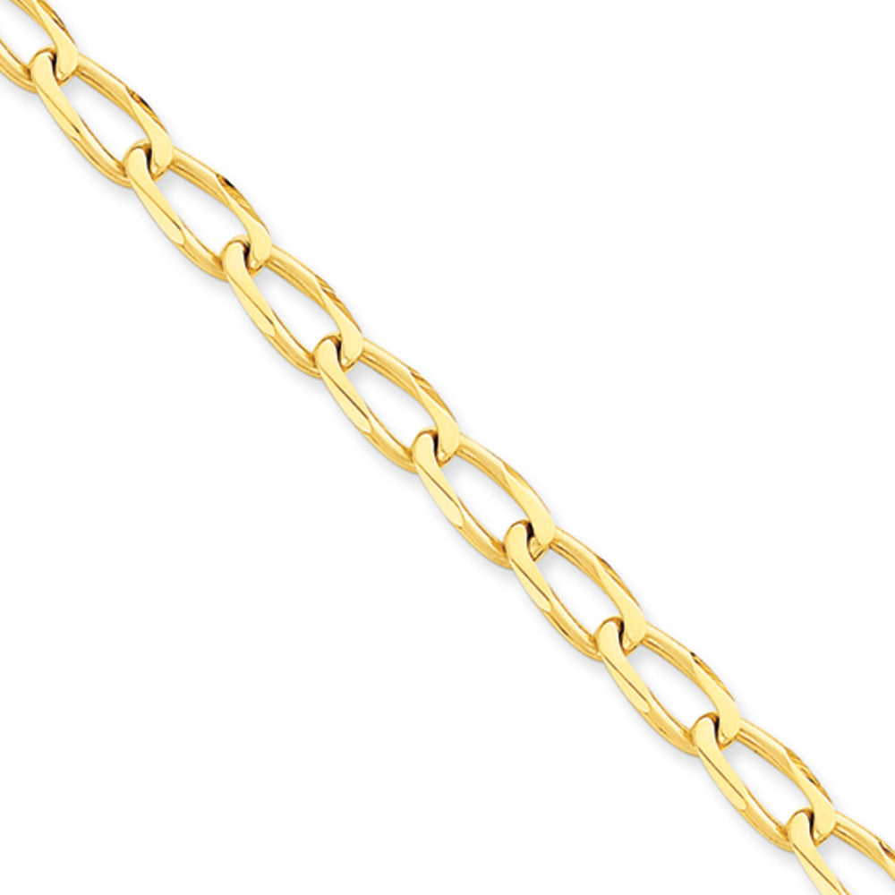 Men's 14k Yellow Gold, 6mm Open Link Chain Bracelet - The Black Bow Jewelry Co.