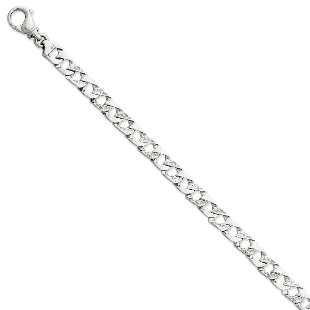 Men's 14k White Gold, 7.5mm Fancy Curb Link Chain Bracelet - The Black Bow Jewelry Co.