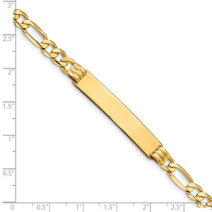 Alternate view of the 14k Yellow Gold Solid Figaro I.D. Bracelet with Lobster Clasp - 8 Inch by The Black Bow Jewelry Co.