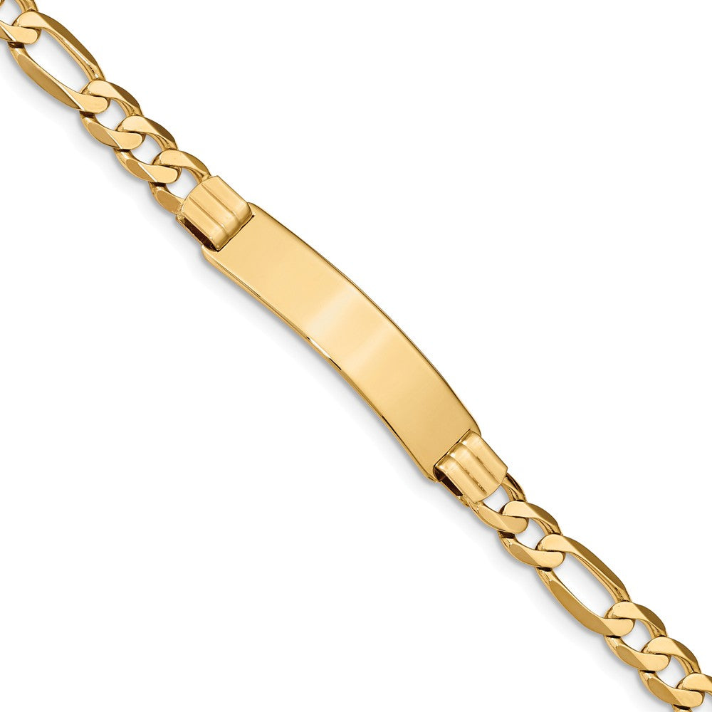 Men's 14k Yellow Gold Figaro I.D. Bracelet - 8 Inch, Item B11308 by The Black Bow Jewelry Co.