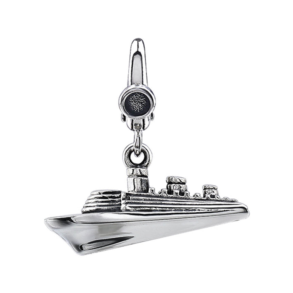 Sterling Silver, Antiqued 3D Cruise Ship Clip-On Bead Charm, Item B11407 by The Black Bow Jewelry Co.