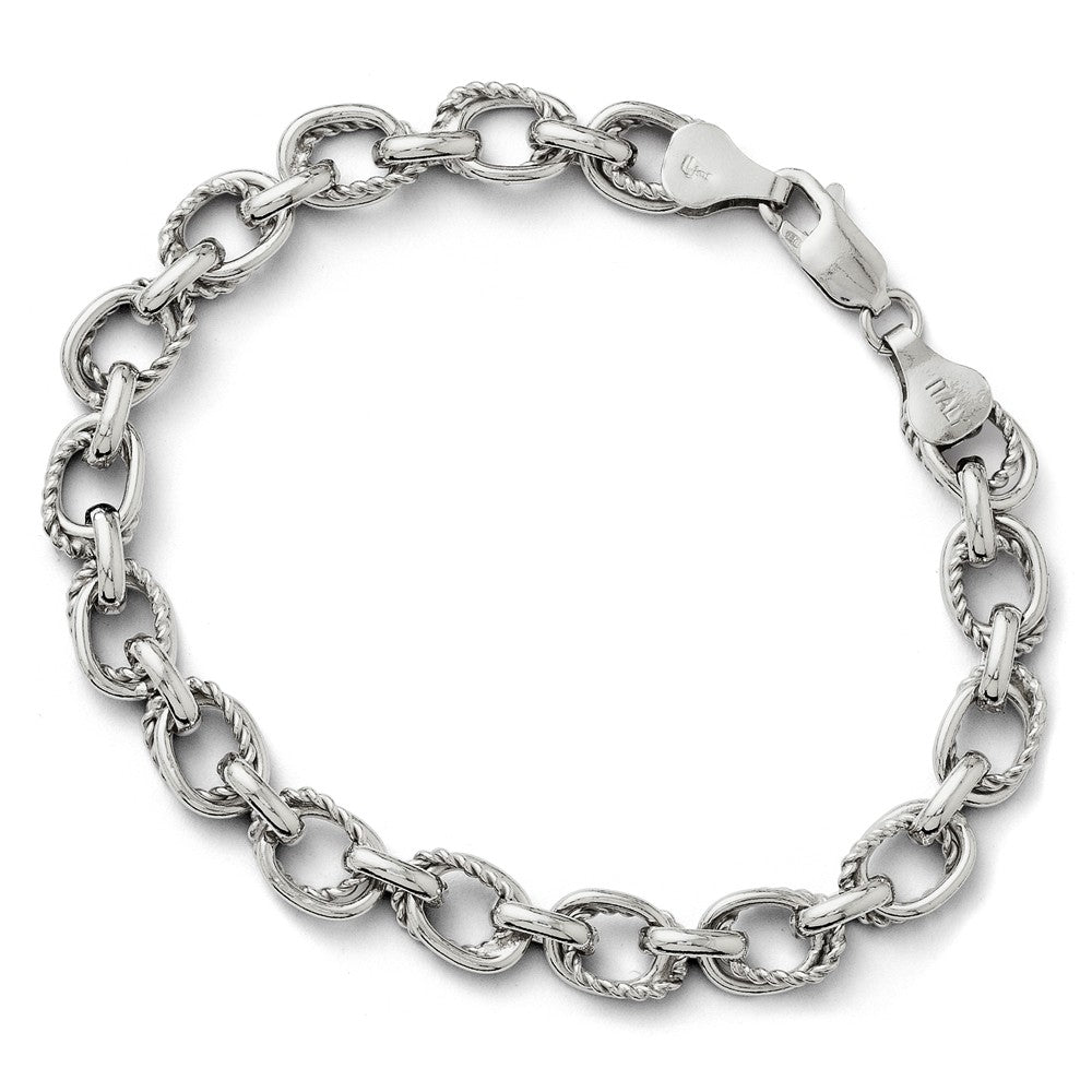 Sterling Silver 7mm Polished Oval Link Chain Bracelet, 7.5 Inch, Item B11455 by The Black Bow Jewelry Co.