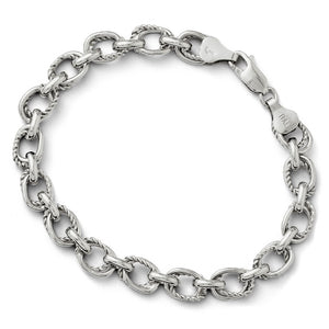 Sterling Silver 7mm Polished Oval Link Chain Bracelet, 7.5 Inch - The Black Bow Jewelry Co.