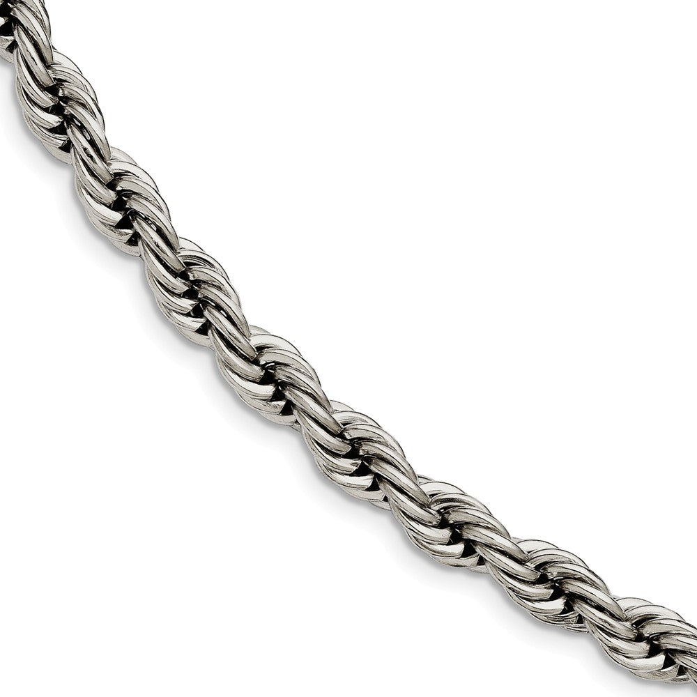 Men's 7mm Polished Rope Chain Bracelet in Stainless Steel - The Black Bow Jewelry Co.