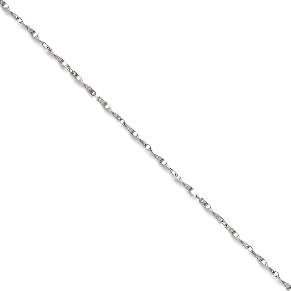 2mm Polished Spiral Link Chain Bracelet in Stainless Steel - The Black Bow Jewelry Co.