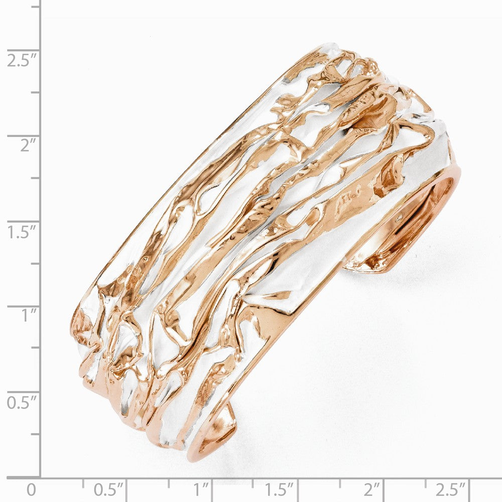 Alternate view of the 26mm Rose Gold Tone Plated Sterling Silver Domed Crinkle Cuff Bracelet by The Black Bow Jewelry Co.