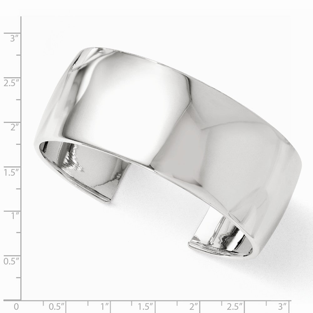 Alternate view of the Sterling Silver 28mm Polished Domed Cuff Bracelet by The Black Bow Jewelry Co.