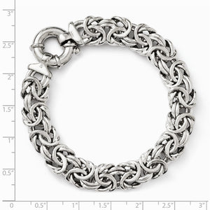 Alternate view of the Sterling Silver 12mm Fancy Byzantine Link Chain Bracelet, 7.5 Inch by The Black Bow Jewelry Co.