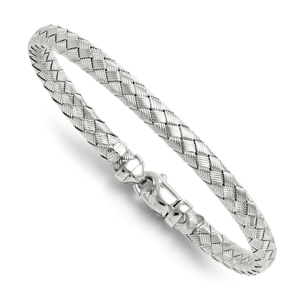 Sterling Silver 6mm Basketweave Bracelet, 7.5 Inch, Item B11531 by The Black Bow Jewelry Co.