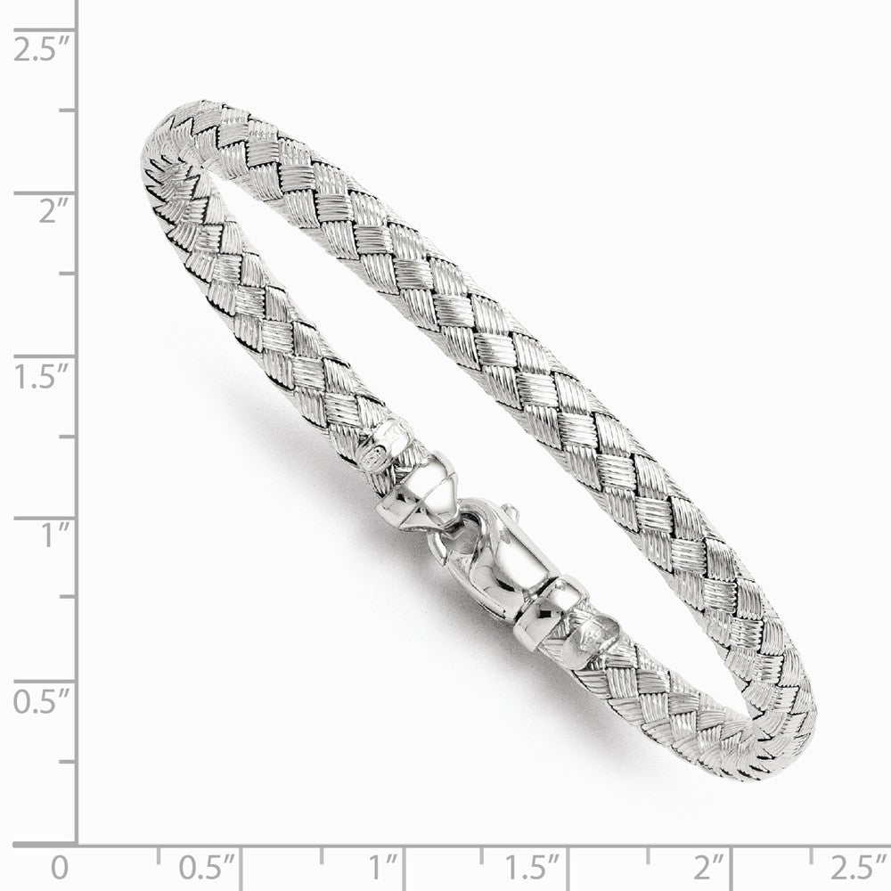 Alternate view of the Sterling Silver 6mm Basketweave Bracelet, 7.5 Inch by The Black Bow Jewelry Co.