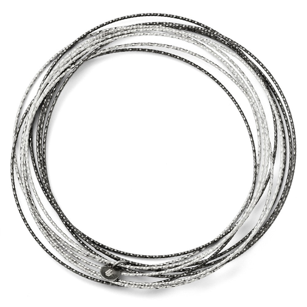 Sterling Silver Black Plated D/C 10 Layer Intertwined Bangle Bracelet, Item B11541 by The Black Bow Jewelry Co.