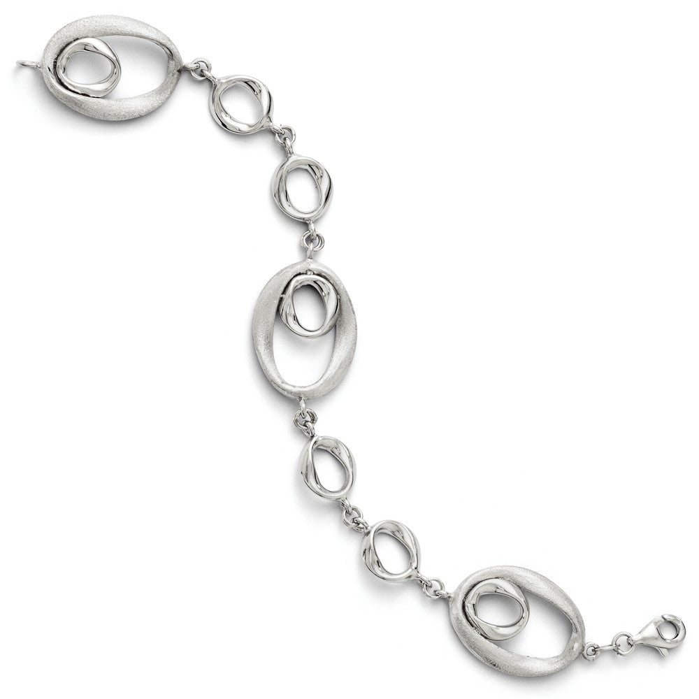 Sterling Silver Organic Oval Link Bracelet, 7.5 Inch, Item B11557 by The Black Bow Jewelry Co.