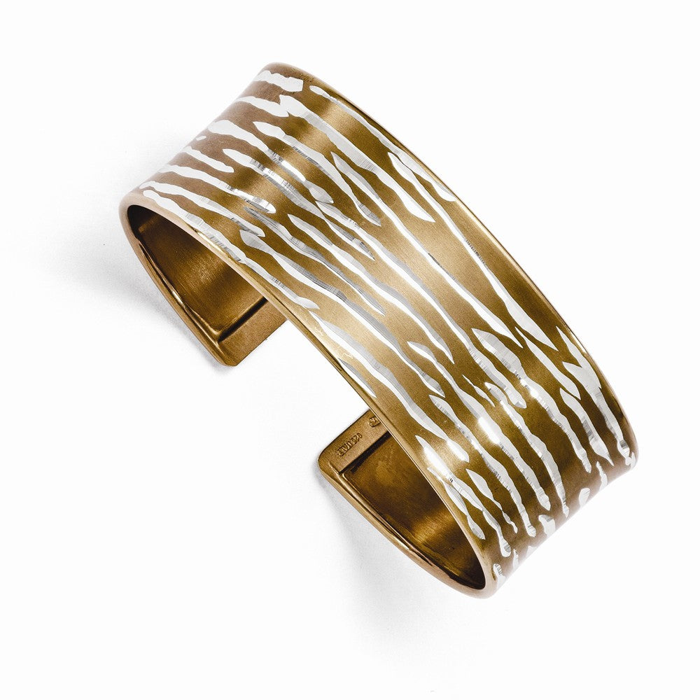 22mm Sterling Silver & Cognac Plated Animal Print Cuff Bracelet, Item B11561 by The Black Bow Jewelry Co.