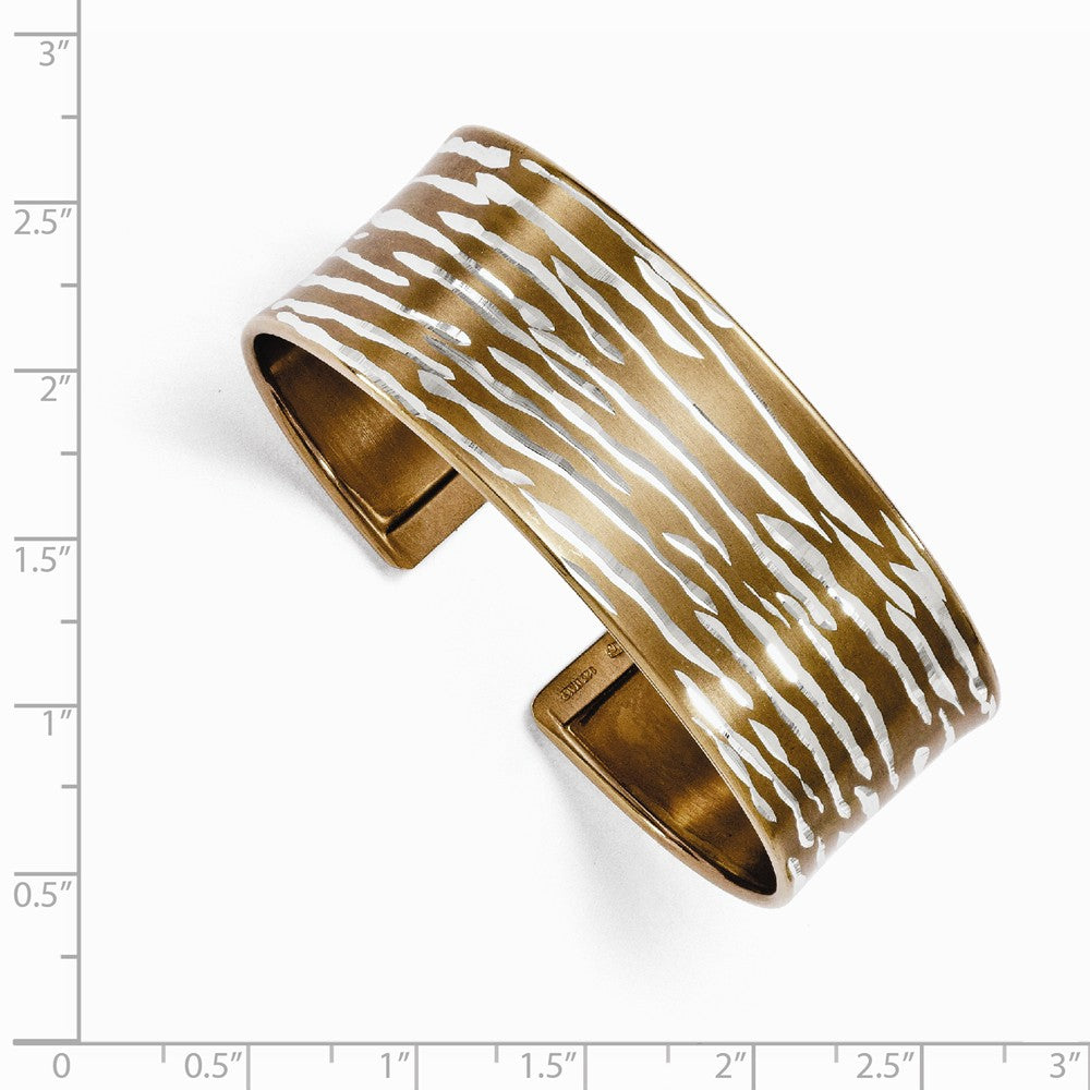 Alternate view of the 22mm Sterling Silver & Cognac Plated Animal Print Cuff Bracelet by The Black Bow Jewelry Co.
