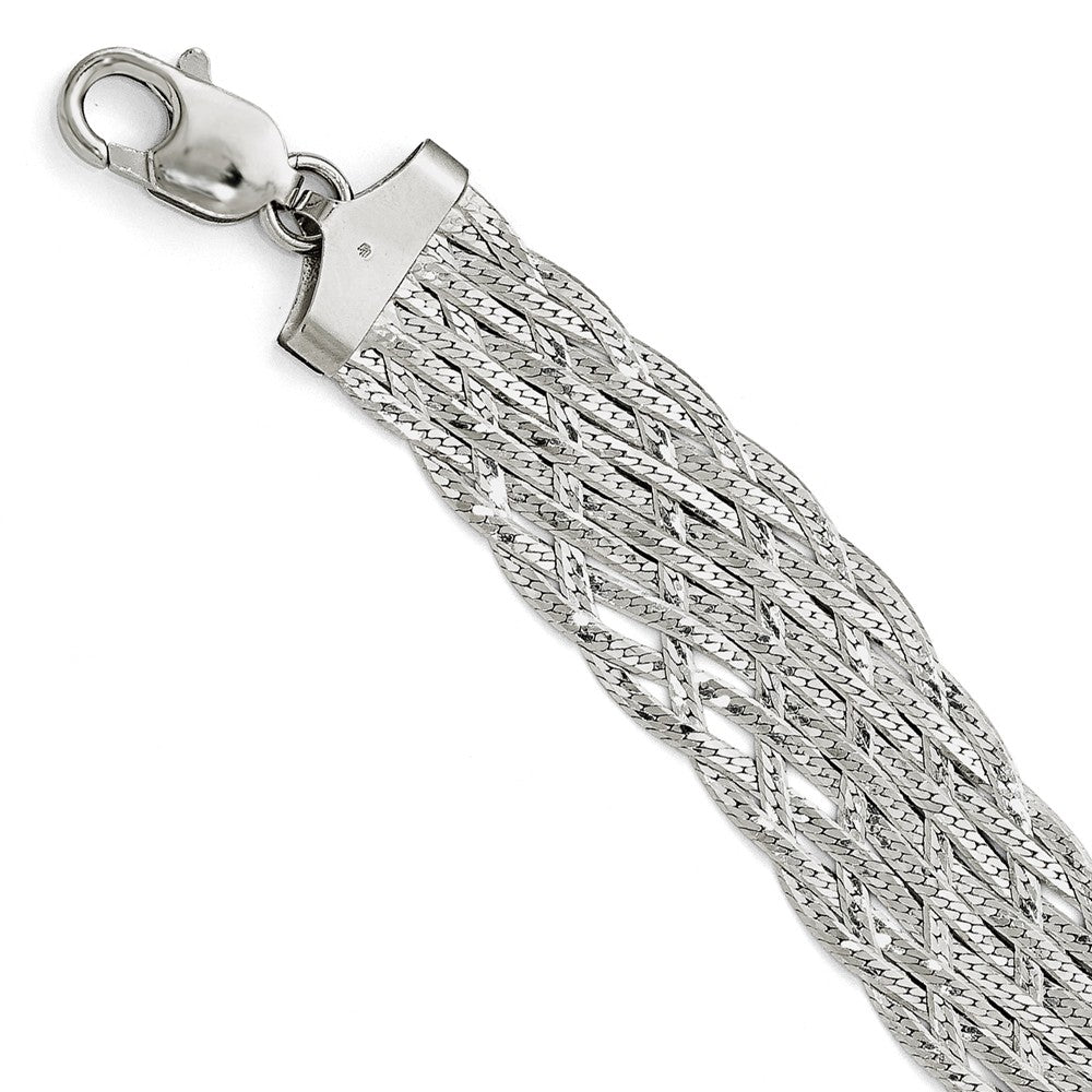 Sterling Silver Wide Braided Herringbone Chain Bracelet, 7.5 Inch, Item B11566 by The Black Bow Jewelry Co.