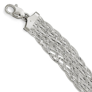 Sterling Silver Wide Braided Herringbone Chain Bracelet, 7.5 Inch - The Black Bow Jewelry Co.