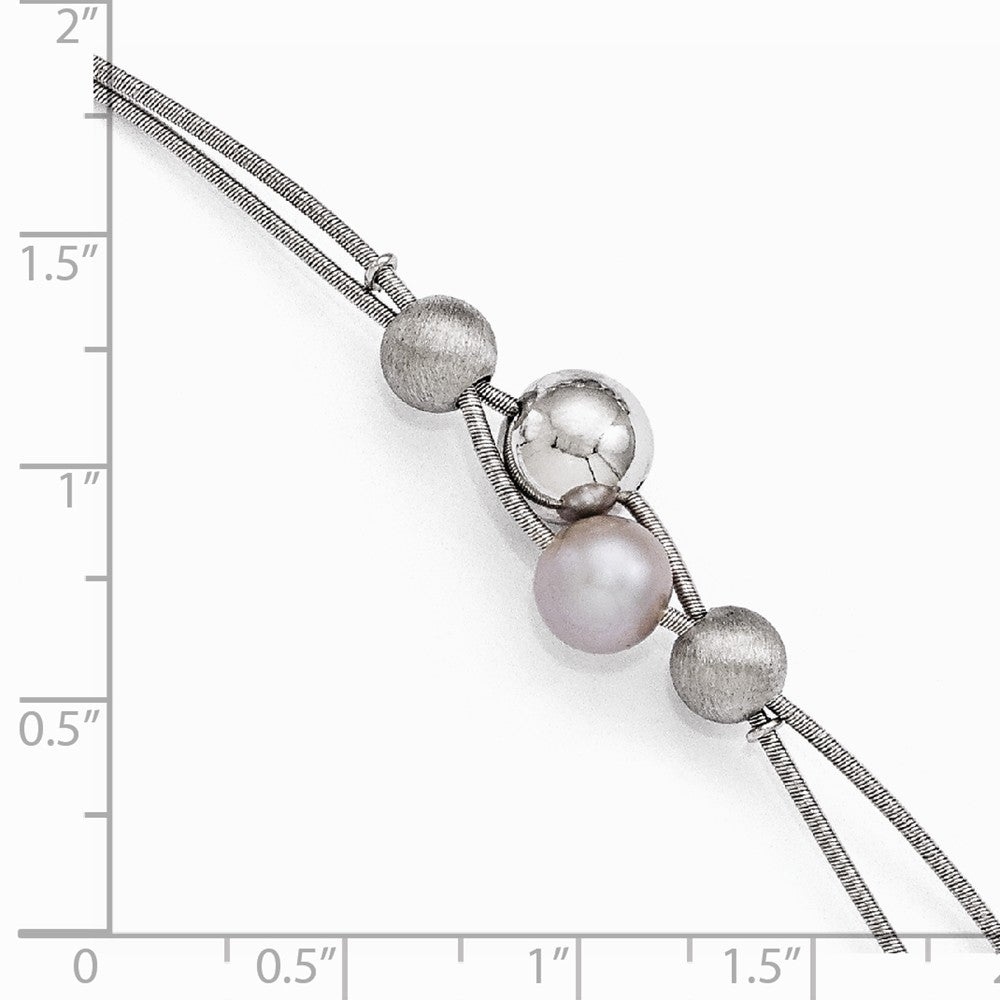 Alternate view of the Strand Sterling, Gray FW Cultured Pearl & Beaded Double Bracelet by The Black Bow Jewelry Co.