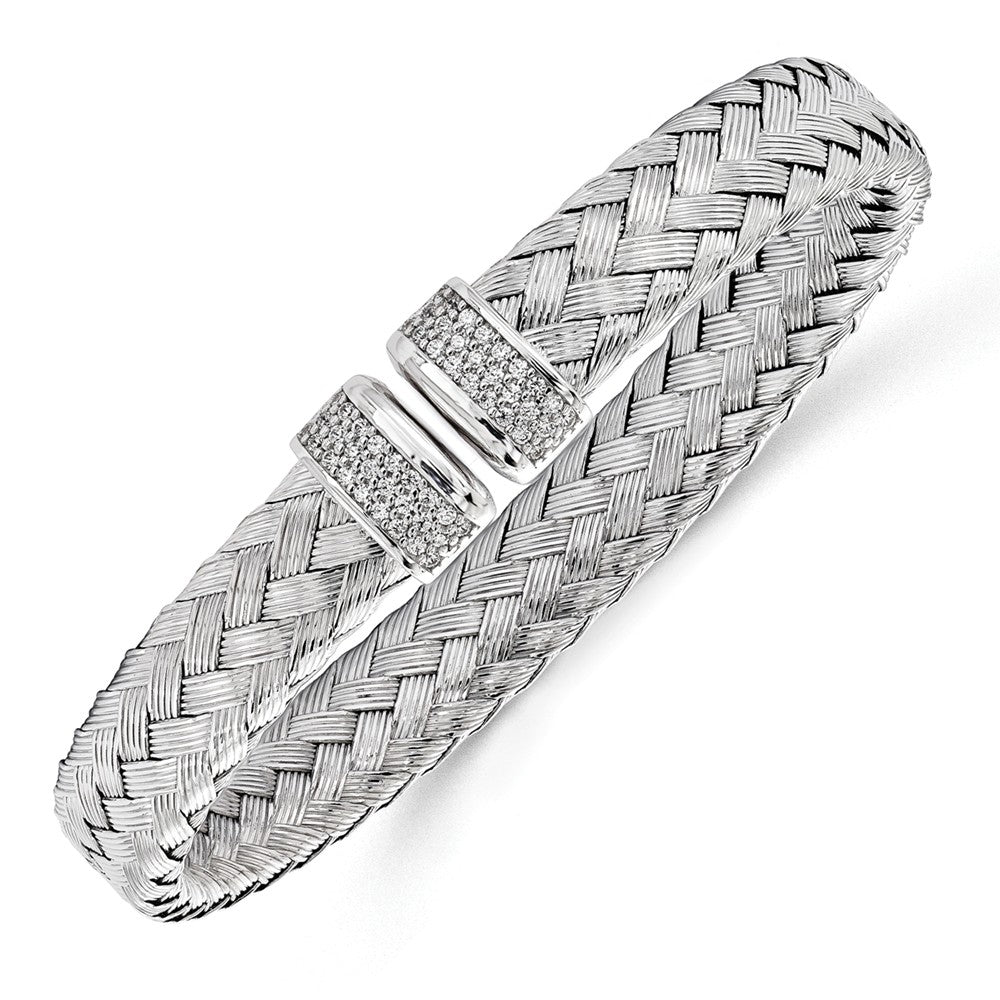Sterling Silver & Cubic Zirconia Flexible 9mm Woven Cuff Bracelet, Item B11585 by The Black Bow Jewelry Co.