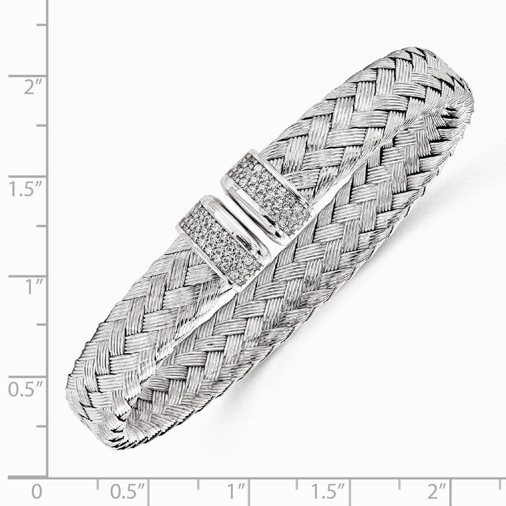 Alternate view of the Sterling Silver & Cubic Zirconia Flexible 9mm Woven Cuff Bracelet by The Black Bow Jewelry Co.