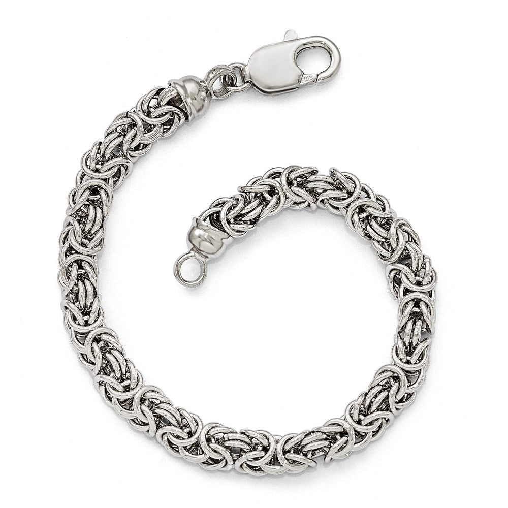 Sterling Silver 7mm Fancy Byzantine Link Chain Bracelet, 7.5 Inch, Item B11595 by The Black Bow Jewelry Co.