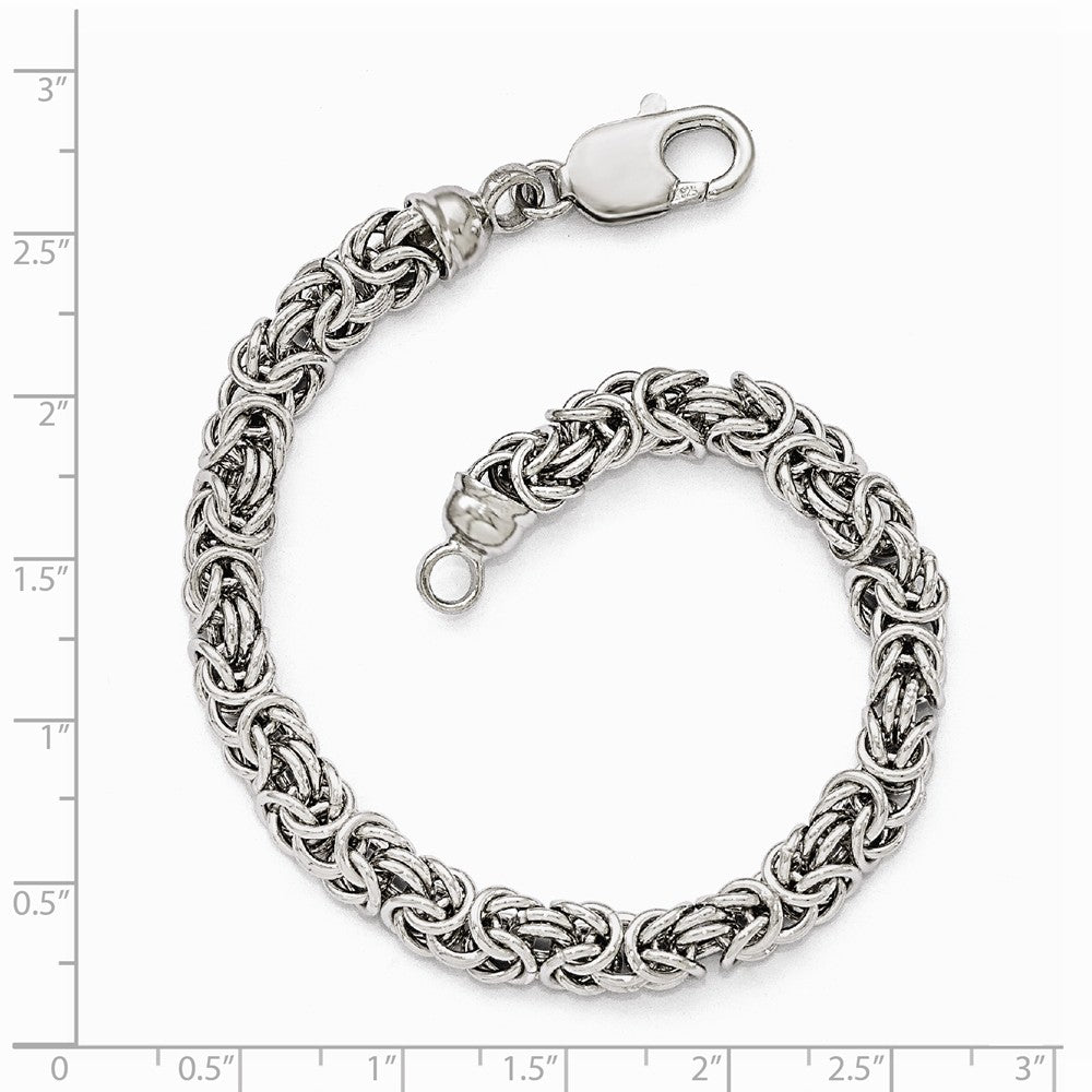 Alternate view of the Sterling Silver 7mm Fancy Byzantine Link Chain Bracelet, 7.5 Inch by The Black Bow Jewelry Co.