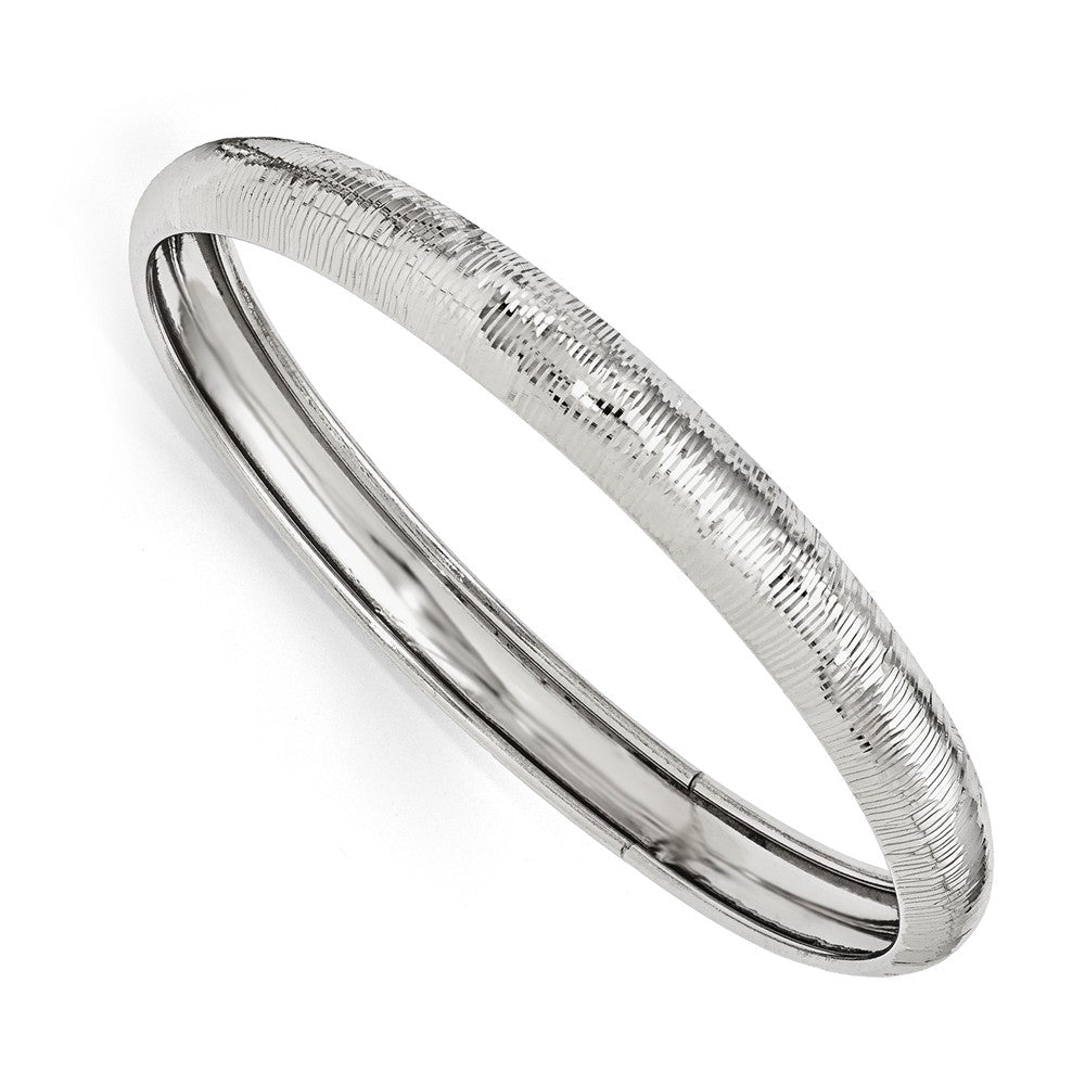 9mm Sterling Silver Textured Domed Bangle Bracelet, Item B11639 by The Black Bow Jewelry Co.