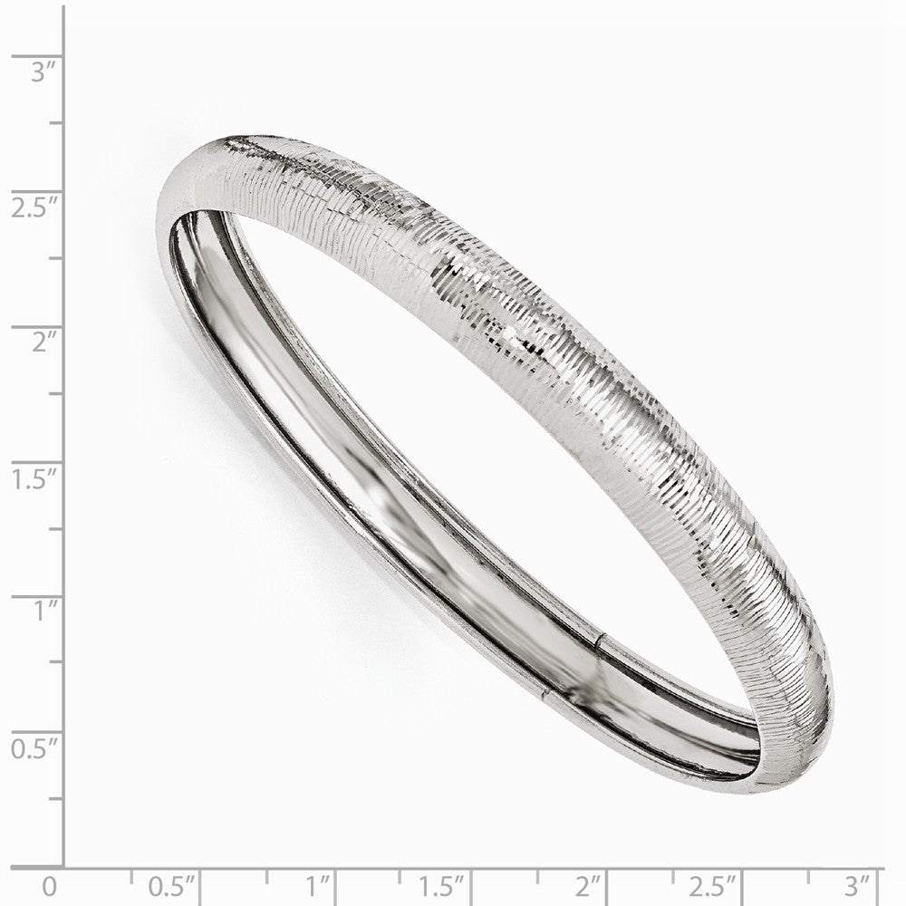 Alternate view of the 9mm Sterling Silver Textured Domed Bangle Bracelet by The Black Bow Jewelry Co.