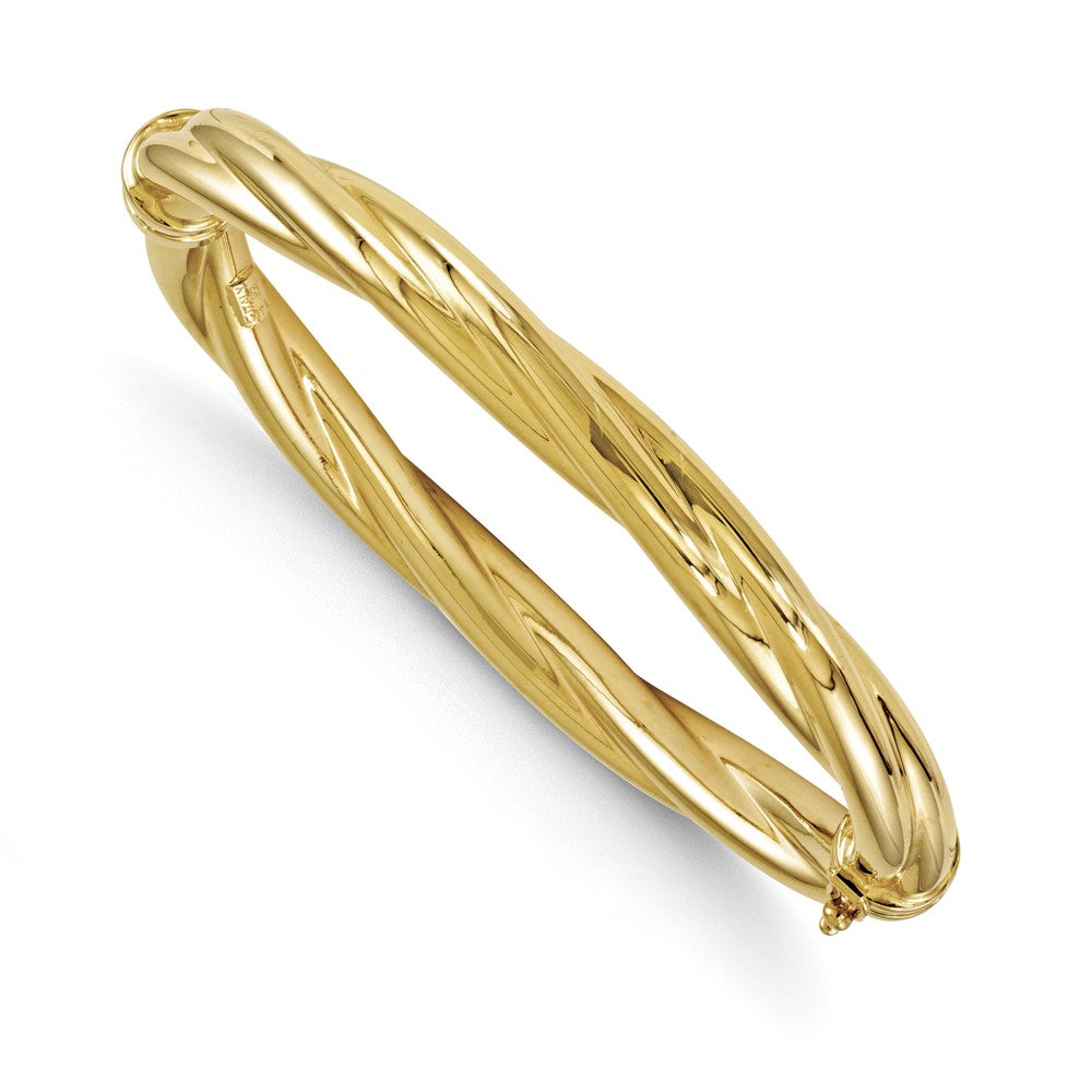 8mm 14k Yellow Gold Polished Twisted Hinged Bangle Bracelet, Item B11651 by The Black Bow Jewelry Co.