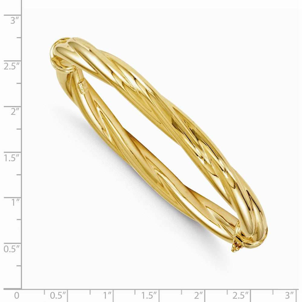 Alternate view of the 8mm 14k Yellow Gold Polished Twisted Hinged Bangle Bracelet by The Black Bow Jewelry Co.