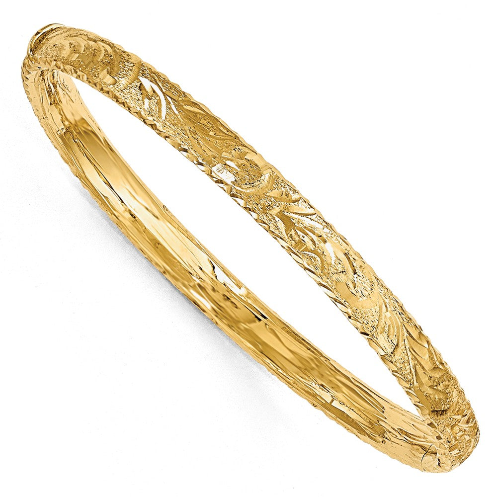 6mm 14k Yellow Gold Textured Diamond Cut Hinged Bangle, Item B11654 by The Black Bow Jewelry Co.