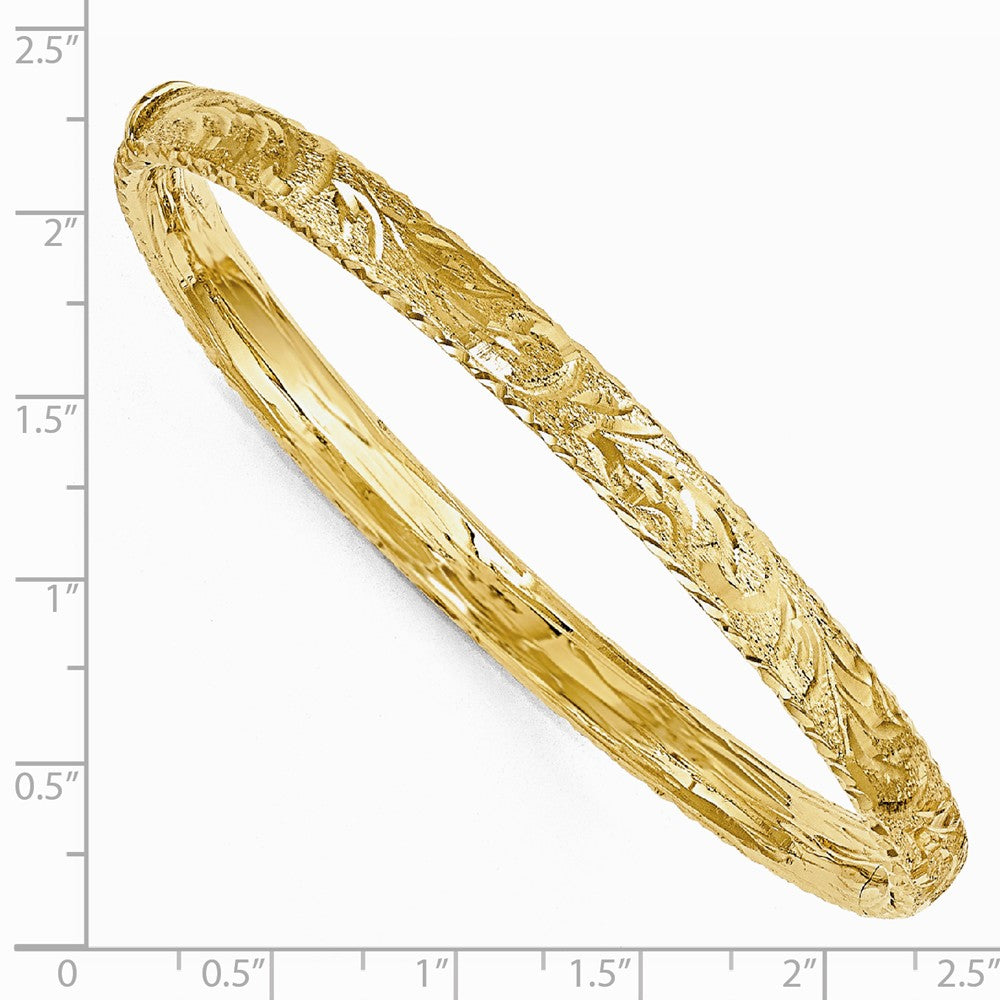 Alternate view of the 6mm 14k Yellow Gold Textured Diamond Cut Hinged Bangle by The Black Bow Jewelry Co.