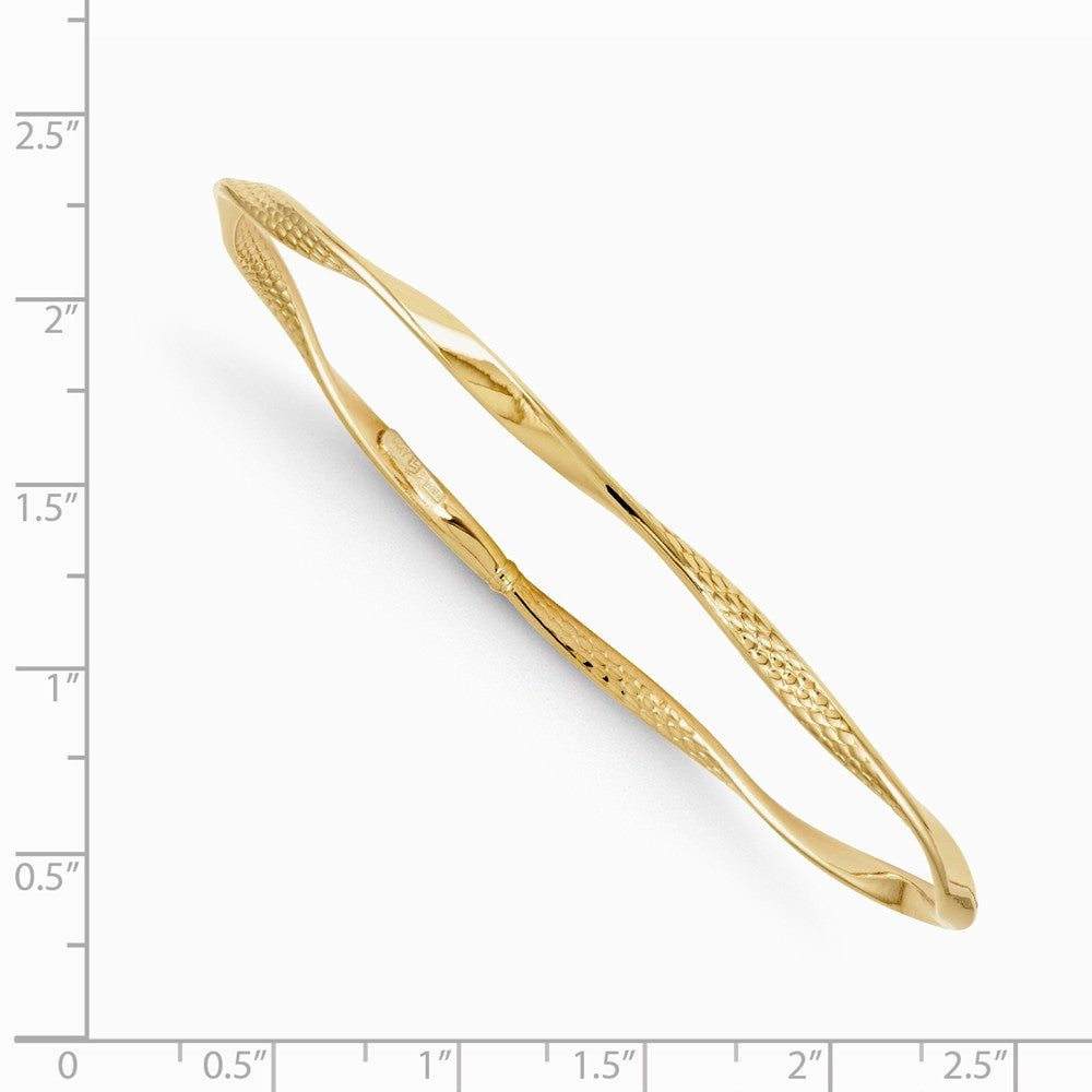 Alternate view of the 3mm 14k Yellow Gold Twisted Slip-on Bangle Bracelet by The Black Bow Jewelry Co.