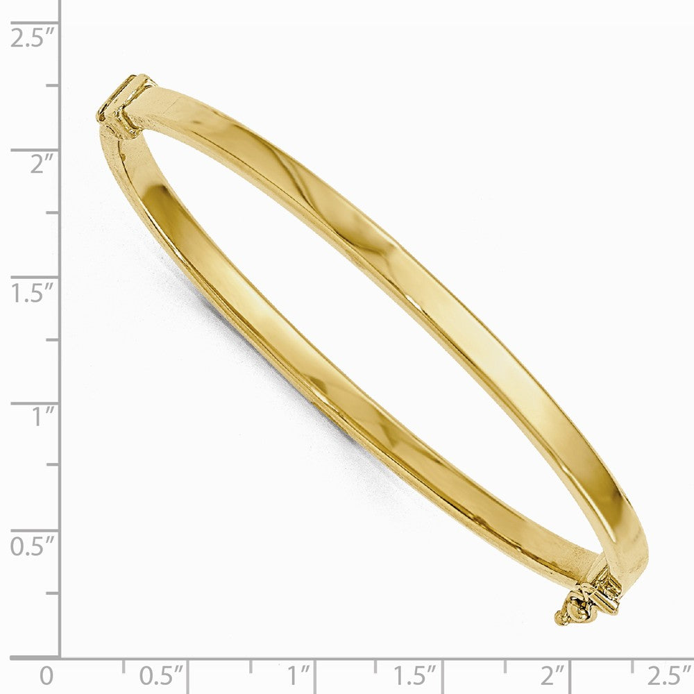 Alternate view of the 4mm 14k Yellow Gold Polished Flat Hinged Bangle Bracelet by The Black Bow Jewelry Co.