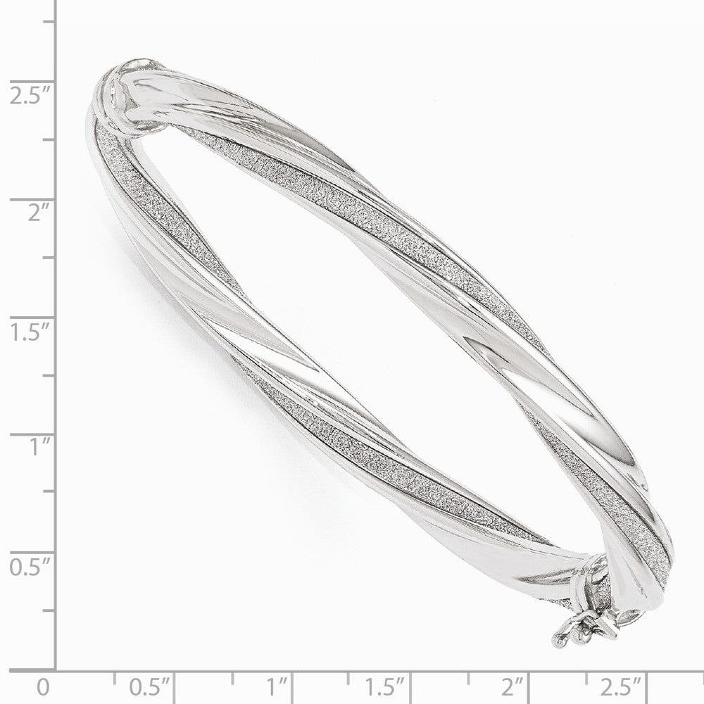 Alternate view of the 6.5mm 14k White Gold & Glitter Infused Twisted Hinged Bangle Bracelet by The Black Bow Jewelry Co.