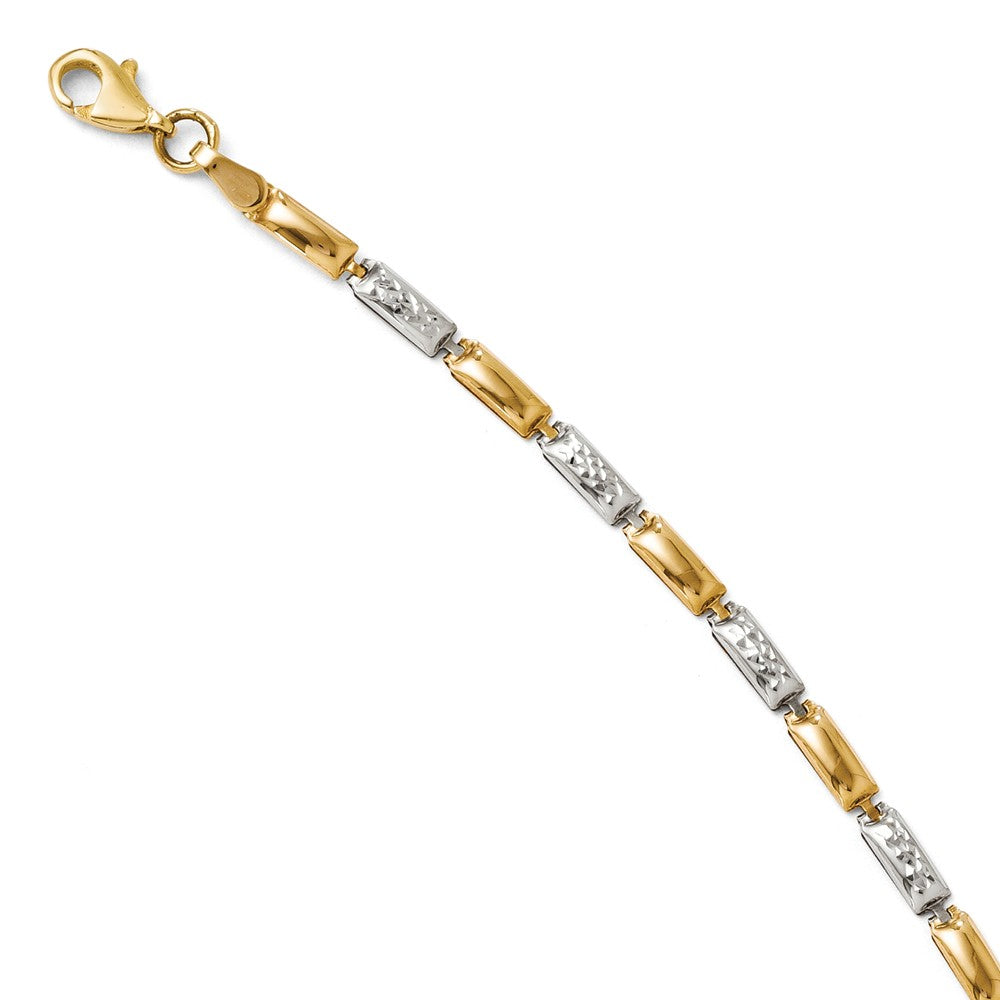 14k Yellow Gold and Rhodium 3mm Two Tone Link Bracelet, 7 Inch, Item B11693 by The Black Bow Jewelry Co.