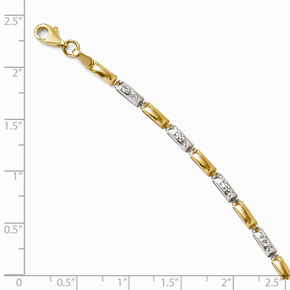 Alternate view of the 14k Yellow Gold and Rhodium 3mm Two Tone Link Bracelet, 7 Inch by The Black Bow Jewelry Co.